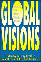 Global Visions: Beyone the New World Order book cover, blue background and yellow large font.
